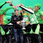An Post Seán Kelly team manager Kurt Bogaerts gets a soaking from Gediminas Bagdonas and his teammates Mark McNally, Mark Cassidy, Sam Bennett and Ronan McLoughlin.