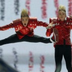 Jedward give it socks to get through the Eurovision semi-final in Duesseldorf, Germany. (AP Photo/Frank Augstein)