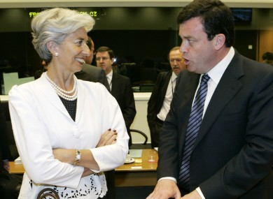 Christine Lagarde with Lenihan in 2008.