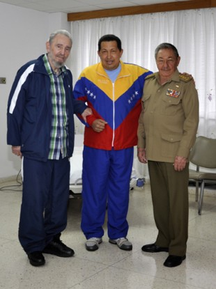 Cuba's state media website released photos on 17 June which showed Chavez posing with Fidel and Raul Castro in a hospital room