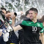Robbie Keane lifts the Carling Nations Cup following Ireland's 1-0 win over Scotland.