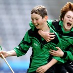 Philip Jordan and Jack Gallagher (St. Joseph's BNS, Terenure) celebrate after the Allianz Cumann na mBunscol Finals in Croke Park.