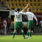 Robbie Keane celebrates scoring his 51st international goal against Macedonia in Skopje.