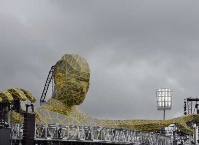 Take that Croke Park! The stadium has been invaded by a giant in prepartion for the visit of Robbie, Gary, Mark and co.