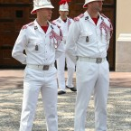 Carabiniers stand guard at the wedding of Prince Albert II of Monaco and Charlene Wittstock at the Place du Palais.