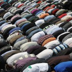 Hundreds of Kosovo Muslims pray in the capital Pristina during a protest calling for extra space in mosques. (AP Photo/Visar Kryeziu)