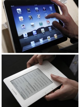 Amazon will up the ante with a tablet that will be more of a match for the iPad than its current Kindle (both pictured)