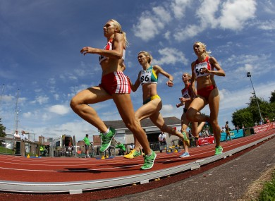 Germany's Elina Sujew leads the field during the Women's 1500m at the Cork City Sports.