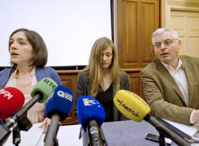 Jerrie Ann Sullivan (centre) is one of the women arrested. Also pictured are Shell to Sea spokesperson Caoimhe Kerins and Socialist TD Joe Higgins on 7 April