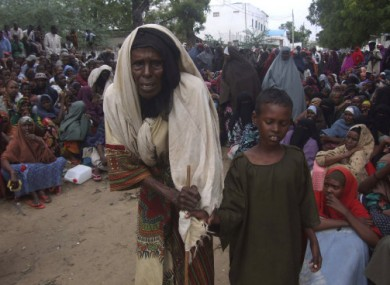 Waiting for food at a camp in Moghadishu, Somalia this week.