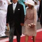 Roger Moore and wife Kristina arriving for the wedding