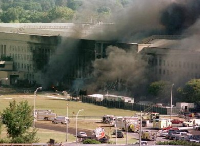 File photo of the Pentagon on fire after being struck by a plane on 11 September 2001.