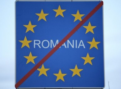 Another accession issue: This sign at the a border crossing between Romania and Moldova shows Romanian anger and disappointment over not being included in EU borderless travel zone.