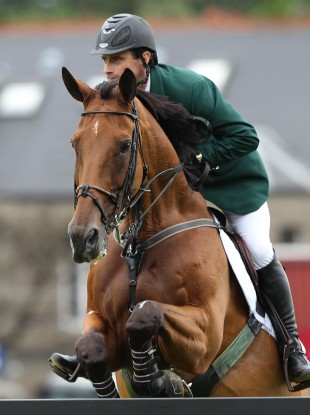 Ireland's Denis Lynch was in action during today's Nations' Cup.