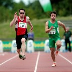 Derry's Jason Smyth, a two-time Paralympian, en route to taking gold in the 100m at the Woodie's DIY AAI National Championships in Santry. The visually-impaired strinter was later named as part of Ireland's squad for the upcoming World Championships.