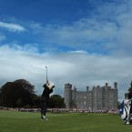 Suzann Pettersen plays her approach shot to the eighteenth at Killeen Castle during the final round of the Ladies Irish Open. The Norwegian eventually won the event by six shots.