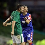 Tottenham team-mates Robbie Keane and Luka Modric get intimate during Ireland's nil-all draw with Croatia at the Aviva Stadium on Wednesday night.