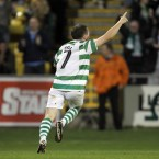 Shamrock Rovers' Gary McCabe celebrates scoring a crucial goal during his side's 1-1 draw with Partizan Belgrade during the third qualifying round for this year's UEFA Champion's League.