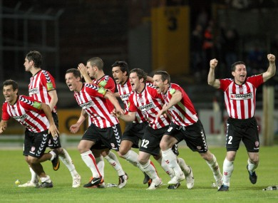Derry City celebrate after beating Sligo Rovers on penalties.