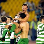 Shamrock Rovers players celebrate after their historic victory over Partizan Belgrade in the qualification round for this year's Europa League. 