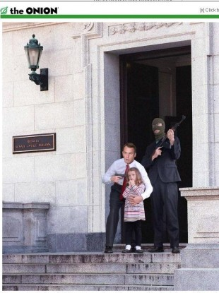 A photshopped image of House Speaker John Boehner holding a child hostage.