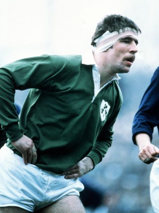Lenihan awaits a line-out delivery during the 1982 Five Nations.