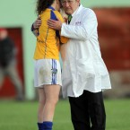 Laois goalkeeper Ciamh Dollard is consoled by the umpire at the end of the TG4 All Ireland Ladies SFC semi-final in Cashel. 