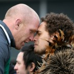 Paul O'Connell is welcomed by a member of a Kapa Haka group.