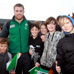 Sean O'Brien gets his picture taken with some of the fans who turned out to welcome the Irish team.