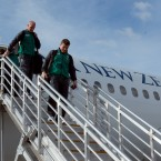 Brian O'Driscoll and Paul O'Connell lead the team off the plane in Queenstown Airport.