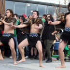 Locals perform the Powhiri - a traditional welcome dance - as the Irish team arrive.