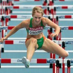 Ireland's Derval O'Rourke clears the last hurdle to finish her heat of the Women's 100m Hurdles in 2nd place, qualifying for the semi-final.