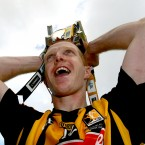 Henry Shefflin celebrates with the Liam MacCarthy Cup.