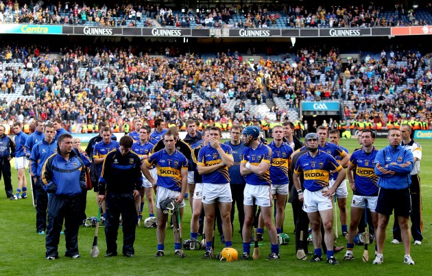 The Tipperary team look on dejected during the presentation 4/9/2011