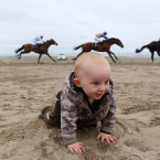Senan Kelly enjoys the Laytown Races.