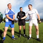 Captains Ciaran Whelan and Darragh O'Se meet for the coin toss.