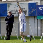 Trevor Giles celebrates scoring a goal for the Rest of Ireland.
