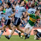 Dublin players react to Colm Cooper's first-half goal.