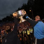 Dublin manager Pat Gilroy and captain Bryan Cullen lift the Sam Maguire.