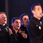 Paul Flynn, Bernard Brogan and Ross McConnell sing along to Molly Malone with David Henry.