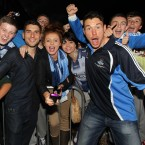 Bernard Brogan and Eamon Fennell celebrate with supporters.