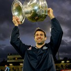 Dublin skipper Bryan Cullen parades the trophy after the whistle.