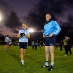 Dublin's Mossie Quinn and manager Pat Gilroy before kick off.