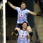 Dublin's Philly McMahon and Eamon Fennell defend a free kick in an unusual manner.