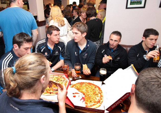 Dublin players enjoying some pizza 19/9/2011