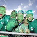 Ireland supporters make their presence felt in the stadium.
