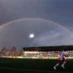 A rainbow overhead as kick off after Sean O'Brien's try.