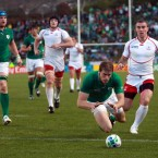 Ireland's Andrew Trimble scores a try.