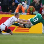 Ireland's Keith Earls gets in for a try.