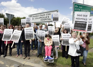 Protesters in Loughlinstown earlier this year